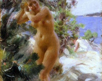 After the Bath Painting by Anders Zorn Art Reproduction
