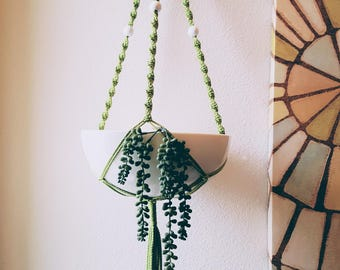Large Green Modern Macrame Hanging Plant Holder with Thick White Bowl