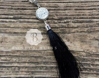 18mm Light Silver Druzy Tassel Necklace, Silver Tassel Necklace, Druzy Tassel Necklace, Long Druzy Necklace, Statement Necklace
