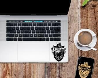 Harry Potter decal; Ravenclaw house crest emblem glitter sticker for laptop, macbook, car, notebook, tablet, phone, mac