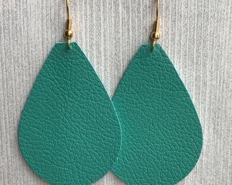 Turquoise - Leather Teardrop Earrings
