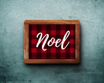 Noel printable sign, 8x10, red and black buffalo plaid, Christmas home decor, holiday art, digital download, rustic country style