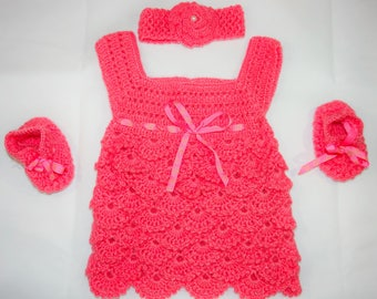 Handmade Crochet Baby Dress/shoes/Headband