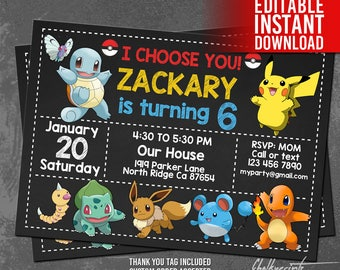 Pokemon Invitation Instant Download, Pokemon Birthday Invitation, Pokemon Invites, Pokemon Thank You Tags, Pokemon Editable Invitation