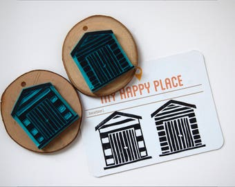 Booths beach set stamps, hand-carved rubber stamps. Rubber stamp set beach huts