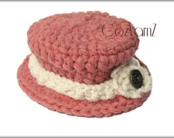 Crochet baby cloche Hat, Pink & Cream hat, newborn to 6 mo, photo prop hat, infant derby hat, vintage style top hat, Easter bonnet, heirloom