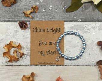 Star Bracelet, Star Pearl Bracelet, Dainty Bracelet, Friendship Bracelet, Star Charm Bracelet, Birthday Bracelet, Silver Star Bracelet Star