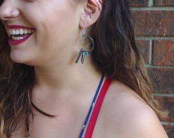 Asymmetrical Boho Quartz Hoop Earrings