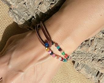 Women bracelet, bohemian bracelet, boho jewelry, gemstone bracelet, leather bracelet, beaded Bracelets, womens jewelry, boho bracelet, boho