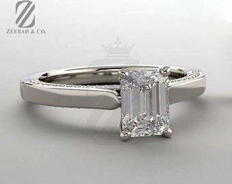 Emerald Cut Diamond Engagement Ring in 14K White Gold - Wedding Ring - Bridal Ring