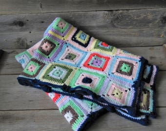 Vintage Baby Afghan /  Crocheted Blanket / Granny Square Afghan / Nursery / Baby Gift / Throw Blanket / Multi Color