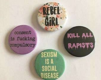 Feminist 4 Badge Riot Grrrl Radical Feminist Political Buttons