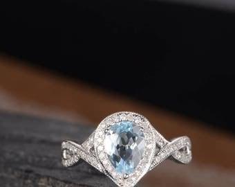 Aquamarine Pear Shaped Engagement Ring White Gold Infinity Split Shank Band Unique Halo Diamond Ring Birthstone Women Bridal Anniversary