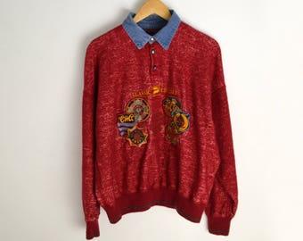 Sweater Vintage Men L Wool sweater 90s sweater Vintage jumper Red sweater 1990s Vintage Pullover 80s 90s style Classic Cruiser Patrick