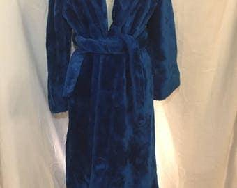 60s blue fuzzy plush robe