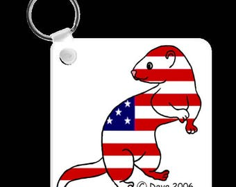 Ferret All American USA Keychain