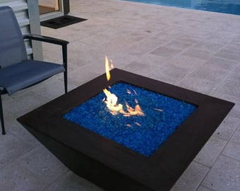 Black Concrete Fire Pit, Made in USA, Propane or Natural Gas