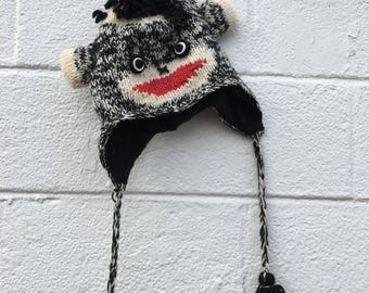 Black and White Wool Monkey Hat from Nepal