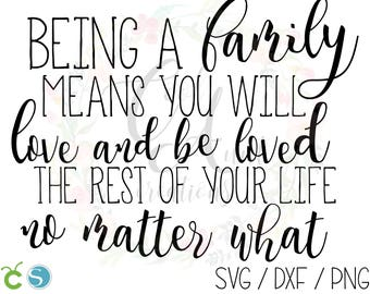 Being a Family Means You Will Love and Be Loved The Rest of Your Life No Matter What / SVG / DXF / PNG / Digital Download