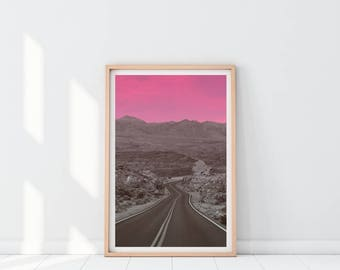 Minimalist Landscape Print, Mountain print, Landscape art, Nature Prints, Landscape Photography, Pink wall art, Printable art