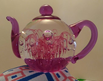 Hand Made Art Glass, Dynasty Gallery, Violet, Trapped Bubble, Waterfall,Tea Pot, Paperweight, Trinket, Decor,