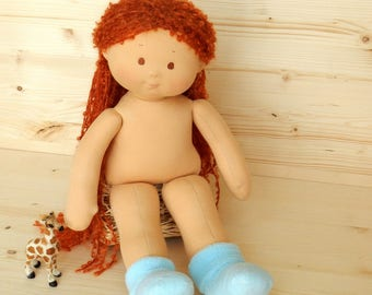 18 Inch Doll Waldorf rag Doll With Long Curly Hair Nature Textile Doll Organic steiner doll Waldorfsky Doll Without Clothes Doll red Hair