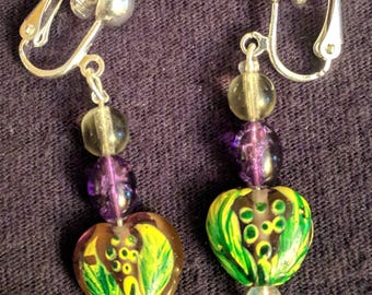 Glass bead clip on earrings. Perfect for Valentine's Day