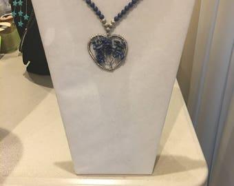 Lapis Lazuli Necklace with Heart Pendant  theTree of Life by Dobka