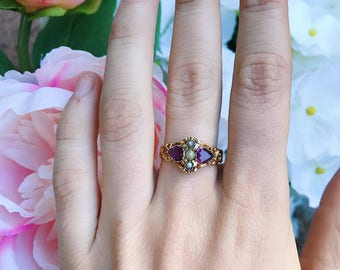 Victorian Amethyst and Seed Pearl Ring circa 1850