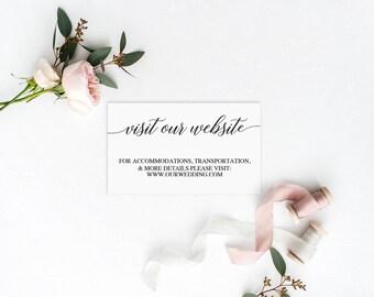 Wedding Website Card | Wedding Website Template | DIY Wedding Website Card | Printable Website Cards | Wedding Website Inserts