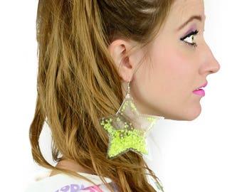 Liquid Glitter Earrings - Stars - Neon Yellow