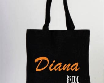 Black Cotton Wedding Tote Bag, Bridesmaid Bags, Wedding Gifts, Black Bridal, Black Wedding Bag, Personalized Party Favors, Black Tote Bag