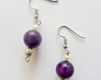 Violet Droplet Earrings