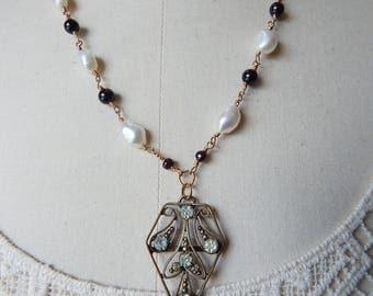 Edwardian Paste Buckle Assemblage Lavalier Pendant - Garnets & Freshwater Pearls