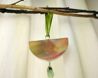 Sun Catcher, Stained Glass Window Decoration, Green Calcite