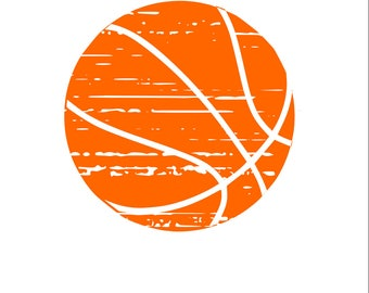 Distressed Basketball SVG/PNG/DXF