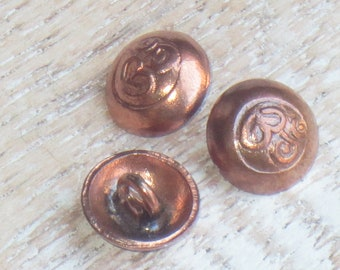 Hill Tribe Om Copper Button, Tribe Hill Copper Button, Om Brass Charm, Yoga Button, Namaste Button