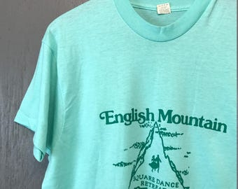 L thin vintage 80s Square Dance English Mountain Tennessee screen stars t shirt