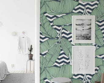 Removable wallpaper - Minimalistic Tropical Leaves Wallpaper - Tropical Wallpaper - Leaves Wallpaper - Monstera Leaves - Wall mural
