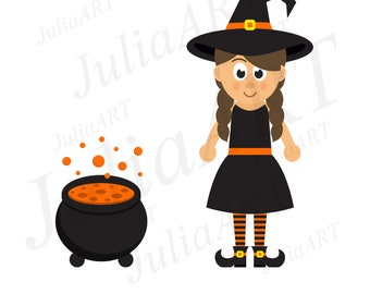 cartoon witch girl
