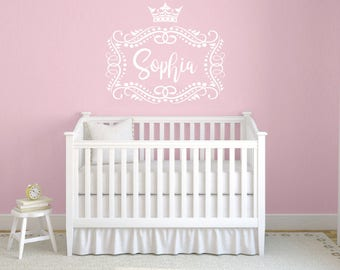 Princess Crown Girls Name Wall Decal. Frame Wall Vinyl Sticker Nursery Personalized Name. Nursery Wall Decor. Baby Girl Name Wall Decal F42