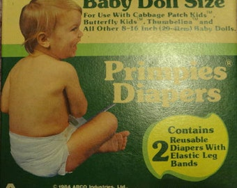 "Vintage 1984 Re-usable DOLL DIAPERS In Original Box Set Of Two Primpies Brand For 8-16"" Dolls Cabbage Patch And Others"