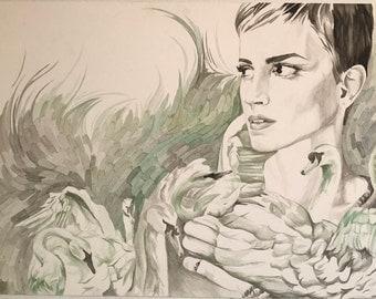 Original Watercolor - Green & Neutral Colors - Femininity