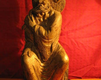 Old Chinese Carved Camphorwood Lohan Statue