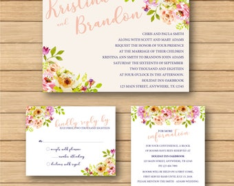 Simple Blush Floral Invite Collection