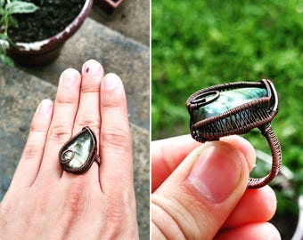 Labradorite Wire Wrapped Ring