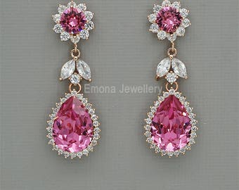 Hot PInk Crystal EArrings, Chandelier Wedding Earrings, Swarovski Crystal Earrings, Rose Gold Wedding Jewelry, yellow gold or Silver