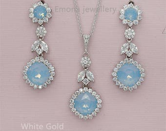 Blue Wedding Jewelry Sets Opal Bridal Jewelry Set Rhinestone Earrings and Necklace Set for Brides Something Blue Bridesmaids Gift