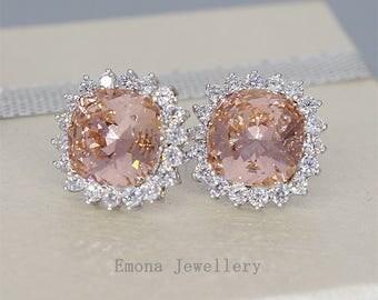 Blush Stud Earrings Silver Blush Bridal Earrings Blush Bridesmaid Jewelry Blush Wedding Earrings for Brides