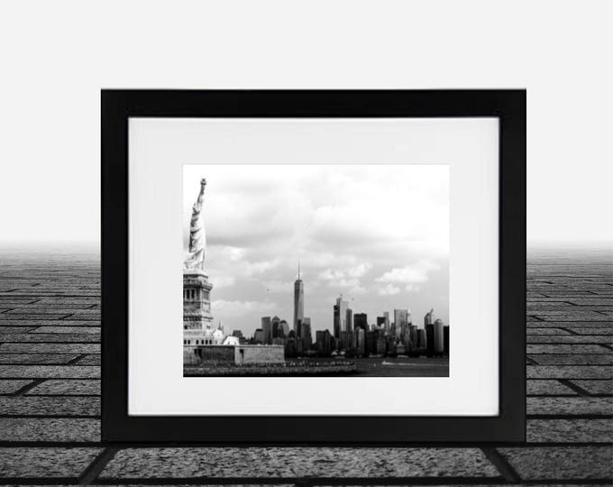 New York City skyline, Statue of Liberty, framed photograph 14x18, Black & white photo matted 11x14